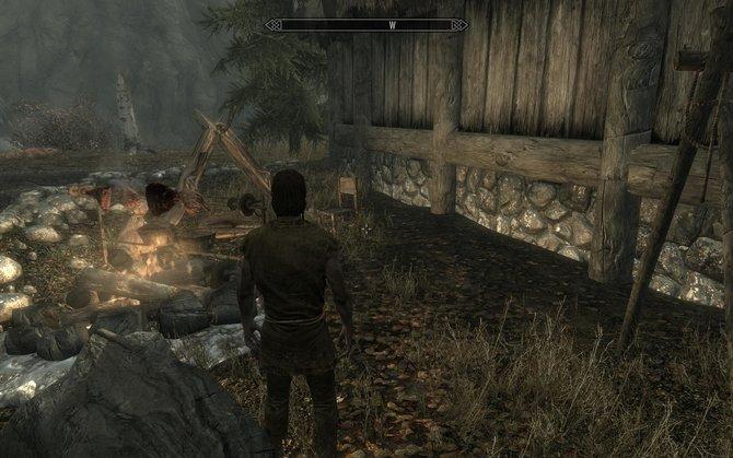 Auf dem ersten Bild seht ihr euer spartanisches Lager. Ihr habt außer einer Holzfälleraxt und einem Zauberbuch nichts besonders sinnvolles dabei ...