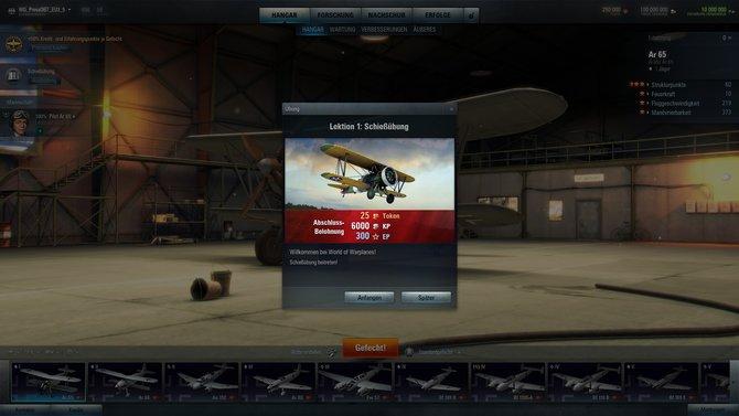 Wenn ihr World of Warplanes das erste Mal startet, warten ein paar Übungsrunden auf euch.