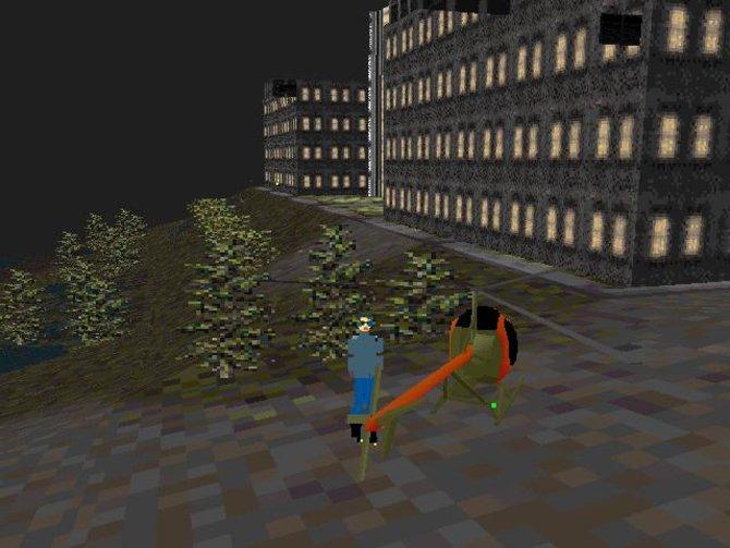 In SimCopter fliegt ihr mit eurem Hubschrauber über den Dächern eurer Stadt.