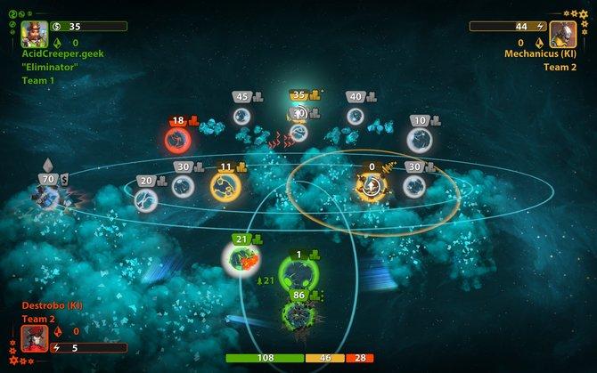 So sieht das Spiel meistens aus. Unspektakulär, aber zweckmäßig. Lasst euch auf das an Risiko angelehnte Spiel ein, dann macht es einen Riesenspaß! Hier im Bild: ein kniffliges Gefecht an zwei Fronten.