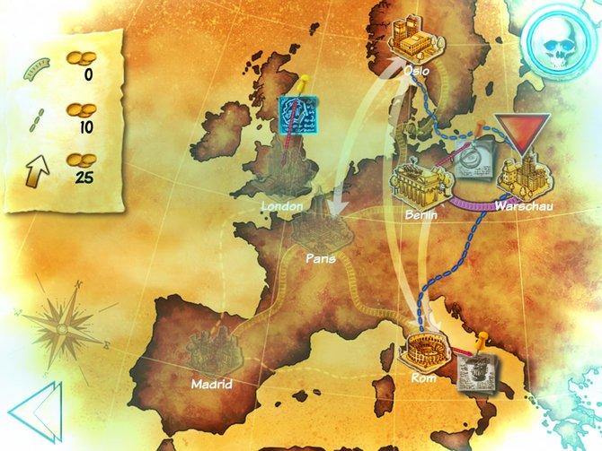 In Europa erkundet ihr antike Stätten auf der Suche nach Artefakten.