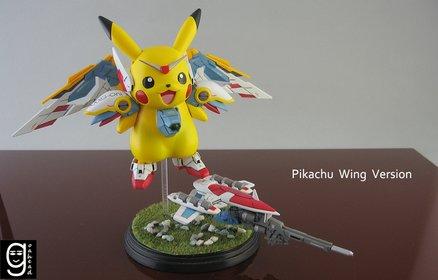 Eine verrückte Kreuzung zwischen Pikachu und einem Gundam-Wing.