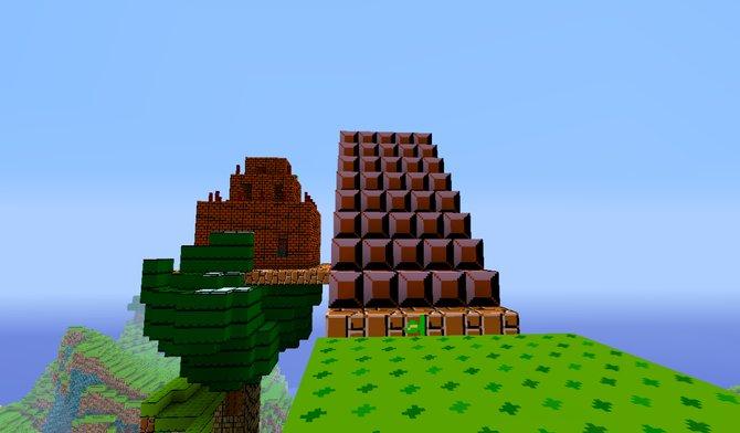 Links: Die 3D-Ansicht des Schlosses am Ende eines jeden Levels. ...