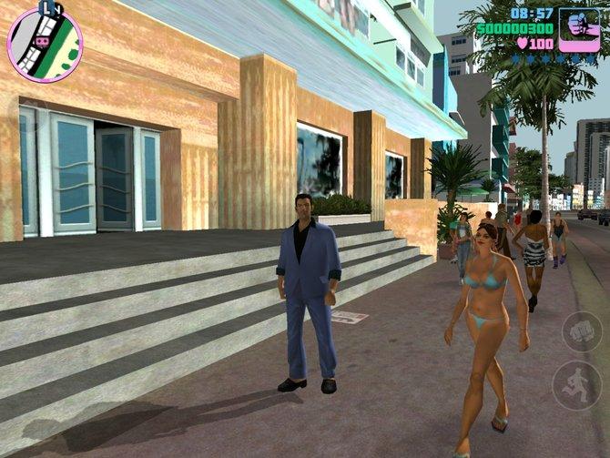 Hauptdarsteller Tommy Vercetti vergnügt sich an der Strandpromenade von Vice City.