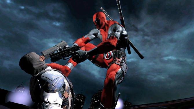 Deadpool im rot/schwarzen Kostüm ist ein Spiel mit Inhalten für Erwachsene.