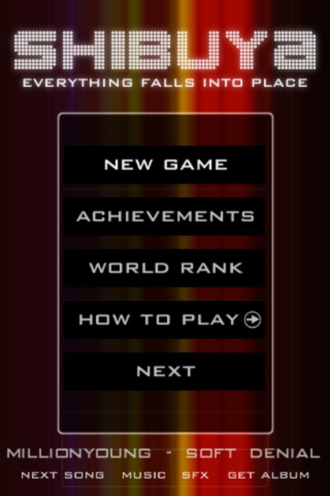 Der Startbildschirm: Startet ein Spiel, schaut euch euren Weltrang an oder schaut euch die Einführung an.