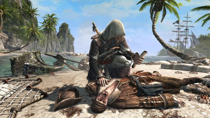 Edward nimmt eine Schatzkarte an sich (Assassin's Creed 4 - Black Flag).