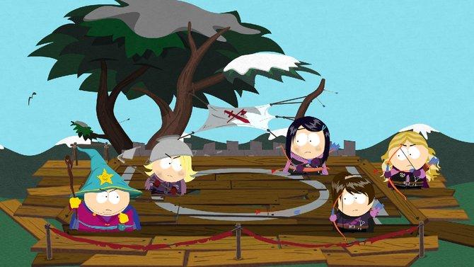 Hier tritt Cartman als Zauberer einigen Bogenschützen gegenüber.