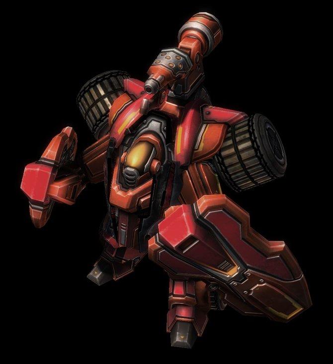 Der Kampf-Hellion (links) ist die Roboter-Version des beliebten Flammenwerfer-Wagens der Terraner. Als Protoss-Spieler ...