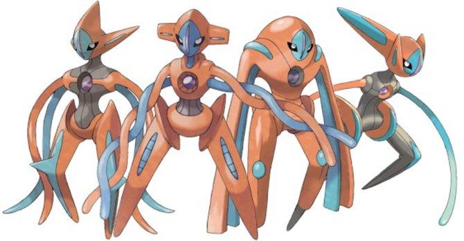 Alle Formen von Deoxys auf einem Bild. Mittels einer Verteilungsaktion könnt ihr das Pokémon auch für Schwarze und Weisse Edition 2 bekommen.