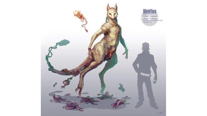 Mewtu war das stärkste Pokémon der ersten Generation. Oben links seht ihr Mew, am Boden kleben Dittos.