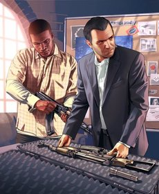 Michael und Franklin bereiten ihr Waffenarsenal vor.