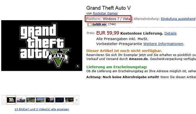 Amazon listet GTA 5 als PC-Spiel, obwohl dieses von Rockstar noch nicht einmal bestätigt wurde.