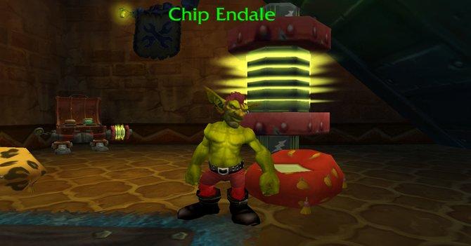 Im Goblin-Startgebiet steht dieser halbnackte Goblin und möchte euch an die attraktiven Männer der Chippendales erinnern.