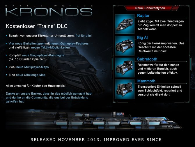 """Mit der kostenlosen Erweiterung """"Trains"""" kommt der neue Einheitentyp Züge ins Spiel."""