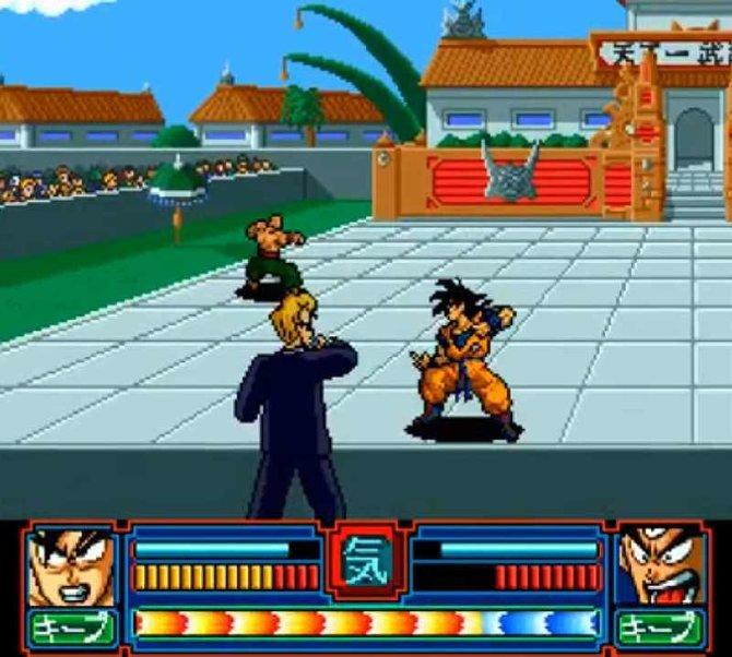 Im Prügelspiel Dragon Ball Z - The Legend of Son Goku sind taktische Sprünge vom Vordergrund in den Hintergrund möglich.