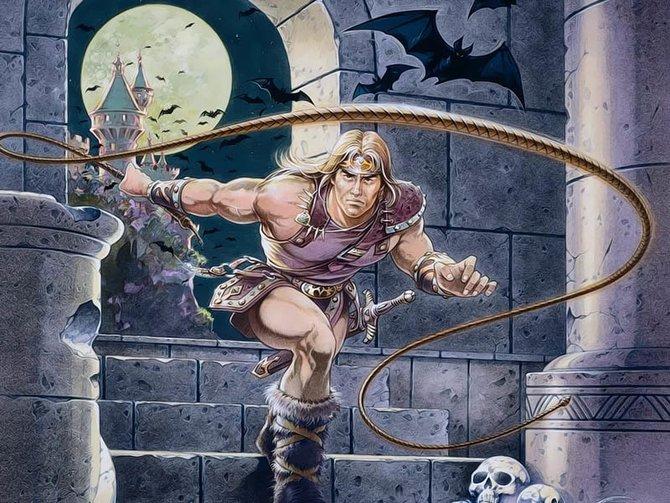 In der Illustration für das erste Castlevania wird Simon noch mit blondem Haupthaar dargestellt. Die Ähnlichkeit mit Conan der Barbar ist frappierend.