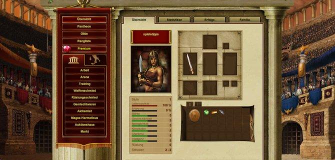Ein gefürchteter Gladiator muss sich zunächst gute Waffen erarbeiten.