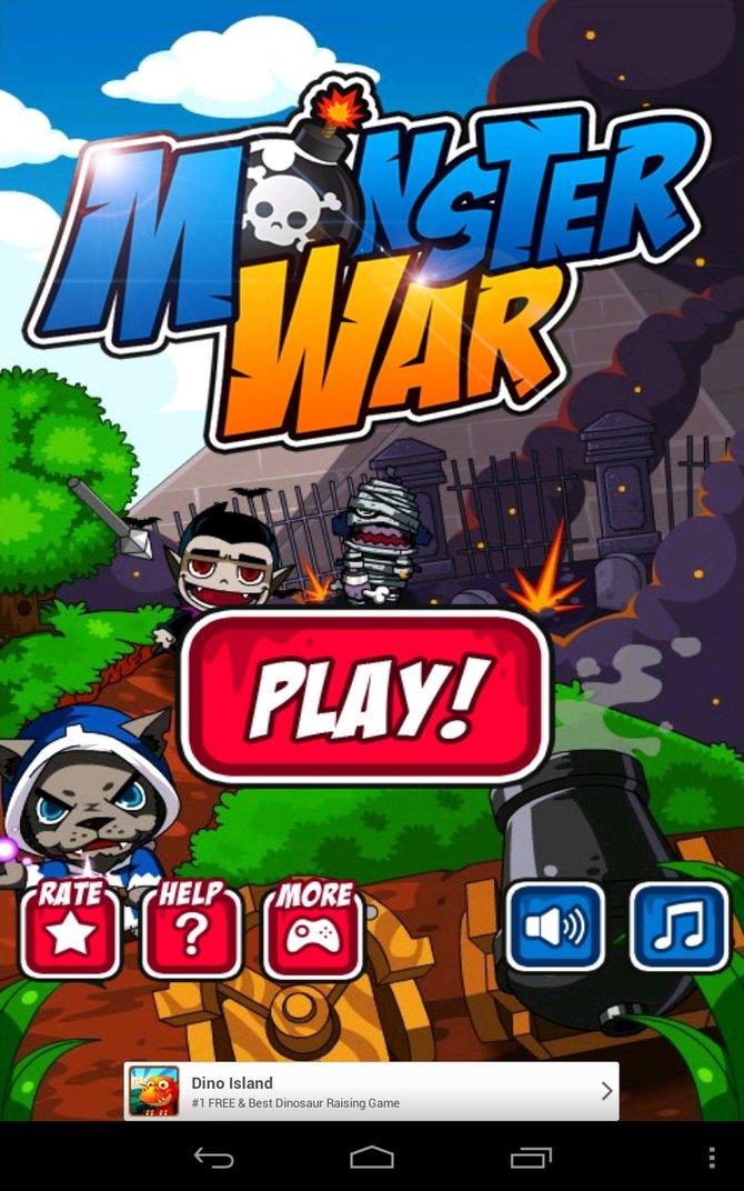 In Monster War schießt ihr mit Kanonen auf Werwölfe, Vampire und Mumien.