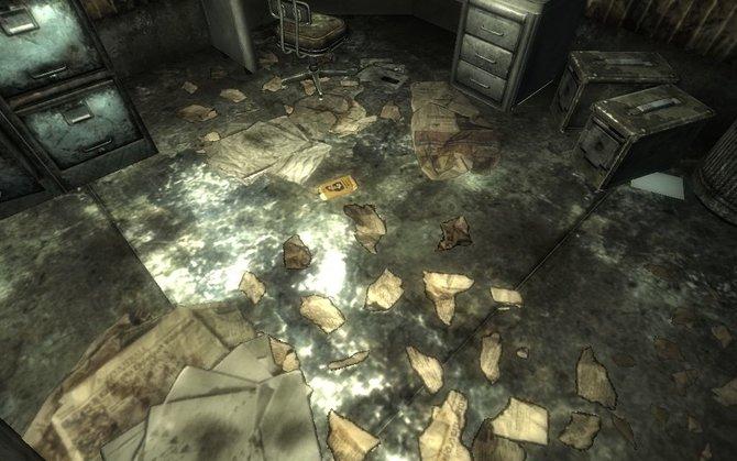 Der inoffizielle Patch behebt viele Fehler der englischsprachigen Version von Fallout 3. Dieses Bild zeigt die Darstellung der Papierfetzen vor der Installation.