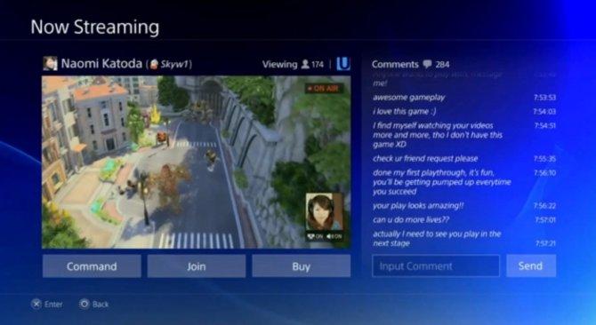 Mit der PlayStation 4 könnt ihr eure Spiele in Echtzeit ins Internet übertragen und Kommentare der Zuschauer sehen.