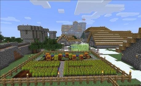 Das idyllische Minecraft-Dorf, wie es im Spiel anzutreffen ist