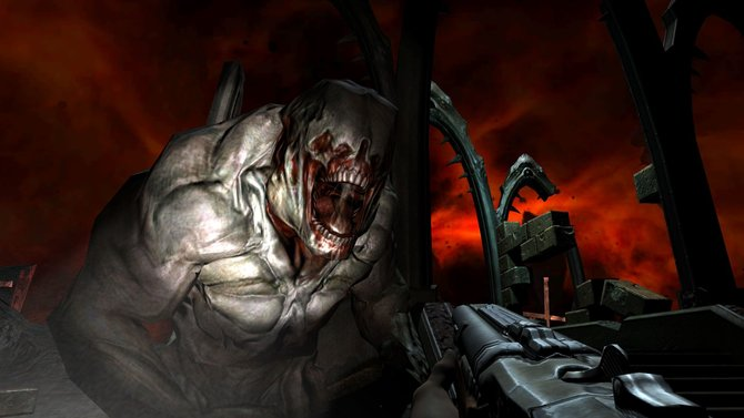 Roter Himmel, zähnefletschender Dämon, Gewehr - das hier ist unverkennbar ein Teil von Doom.