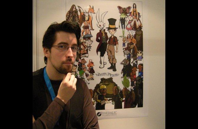 Matthias Kempke ist der Autor von The Rabbit's Apprentice - Im Bann des  Zaroff und hat sich all diese Figuren, die ihr neben ihm seht, für das  Spiel ausgedacht. In der Mitte stehen der zwielichtige Marquis de Hoto  und Jerry Haselnuss.