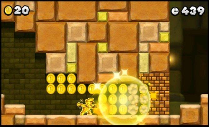 In seinem güldenen Kostüm macht Mario selbst aus Steinen noch Gold.