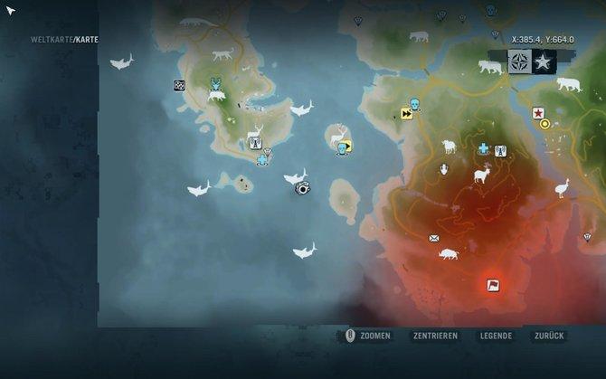 Sucht euch zunächst ein Gebiet mit Haien auf der Karte. Fahrt mit einem Boot dort hin.