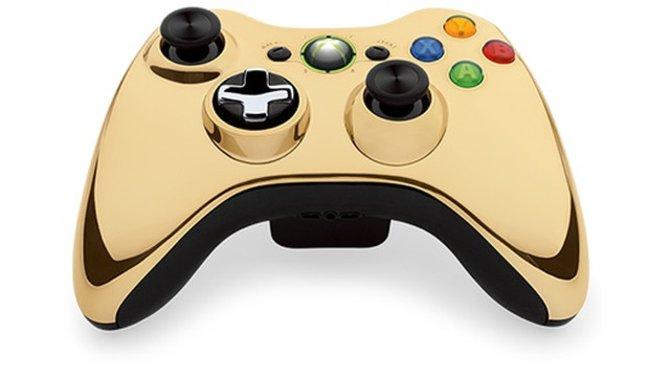 """Die neue goldene Ausführung der """"Xbox 360 Special Edition Chrome Series""""."""