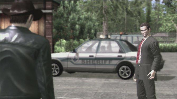 Bei der Ankunft im Spielort Greenvale, wartet Sheriff Woodman (vorne) bereits auf Hauptcharakter Francis York Morgan.