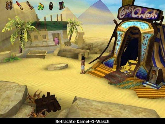 Rechts seht ihr eine Kamelwaschanlage, ein typisches Beispiel für den Humor von Ankh. Aber achtet auch auf die schönen Details. Und das Spiel ist immerhin fast acht Jahre alt.