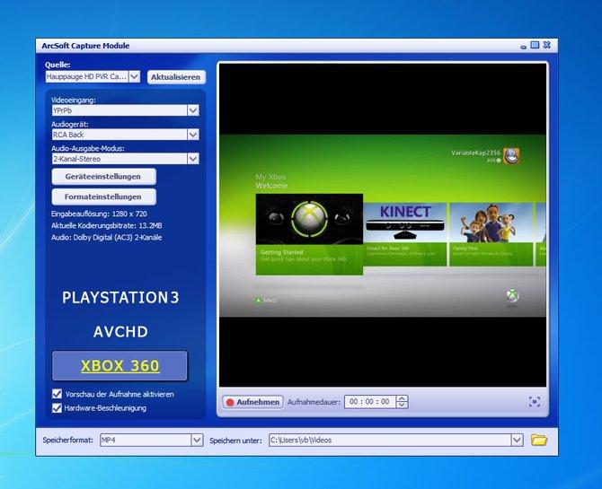 Die mitgelieferten Programmen der Videograbber stellt ihr - falls nötig - auf Komponenteneingang und ...