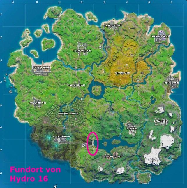 Im pinken Kreis findet ihr mit Hydro 16 den gesuchten Staudamm in Fortnite.