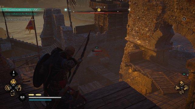 Beim Eindringen in die Festung solltet ihr primär auf euren Bogen setzen, um viele Gegner ungesehen auszuschalten.