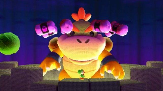 Wie in Yoshi's Island müsst ihr am Ende einen riesigen Bowser bezwingen.