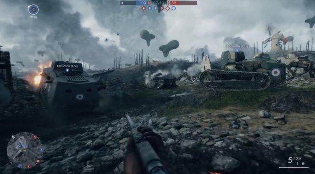 Panzer-Schlacht mit leichten und schweren Panzern.