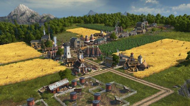 In idyllischen Umgebungen baut ihr zunächst eure Agrarwirtschaft auf.