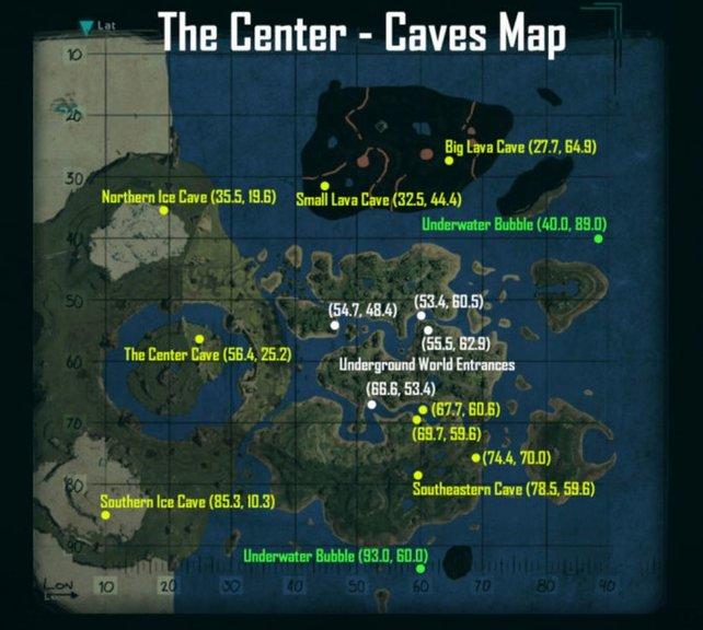 """Auf dieser Karte findet ihr alle Höhlen, die die neue Map """"The Center"""" für euch bereithält."""