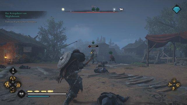 Ihr müsst die fränkischen Angreifer abwehren. Greif zunächst zu eurem Bogen und geht danach in den Nahkampf.