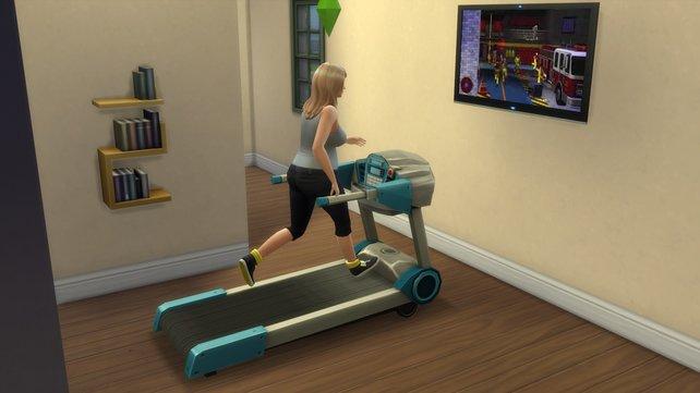 Damit euer Sim auch beim Abnehmen Spaß hat, könnt ihr ihn nebenbei fernsehen lassen.