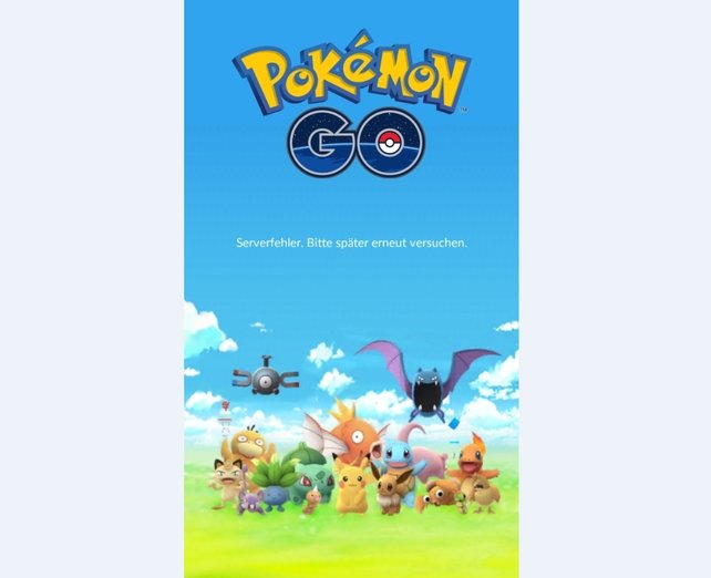 Traurig: Die Server sind down und ihr könnt daher nicht auf Pokémon-Jagd gehen.