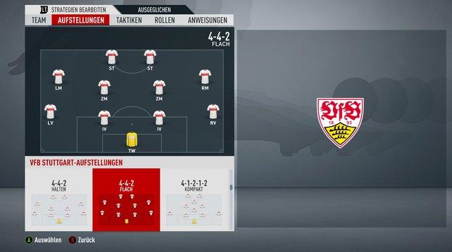4-4-2: Immer eine gute Wahl mit ausgewogener Balance zwischen Offensive und Defensive.