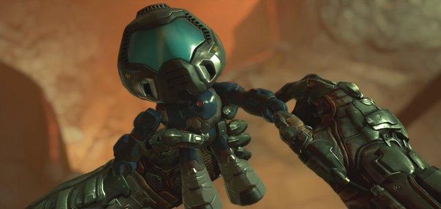 Die Sammlerstücke könnten kaum süßer sein: Eine Miniaturfigur des Doom-Marines.