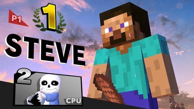 Minecraft Steve feiert seinen Sieg auf eine ungewöhnliche Weise.