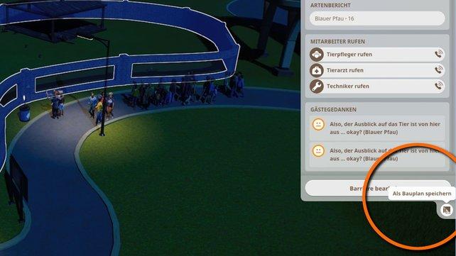 Wenn ihr ein Gehege auswählt, findet ihr im Info-Fenster einen Button zum Erstellen von Bauplänen.