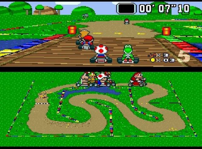 Super Mario Kart hat nur ein einziges Mario-Spiel als Vorbild: Super Mario World. Es spielt auf der Dinosaurierinsel.