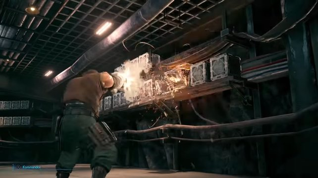 Mit Barret als Fernkämpfer könnt ihr auch Objekte aus der Dinstanz zerstören, was euch Loot und TP-Regeneration einbringen kann.