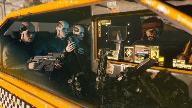 Bewaffnete Cyborgs im Taxi auf dem Weg zur Arbeit - eine Alltagsszene in Cyberpunk.